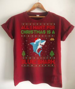 Official Funny Ugly All I Want For Christmas Is A Blue Shark T Shirt