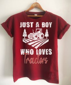 Official Just A Boy Who Loves Tractors Farming Future Tractor Driver T Shirt